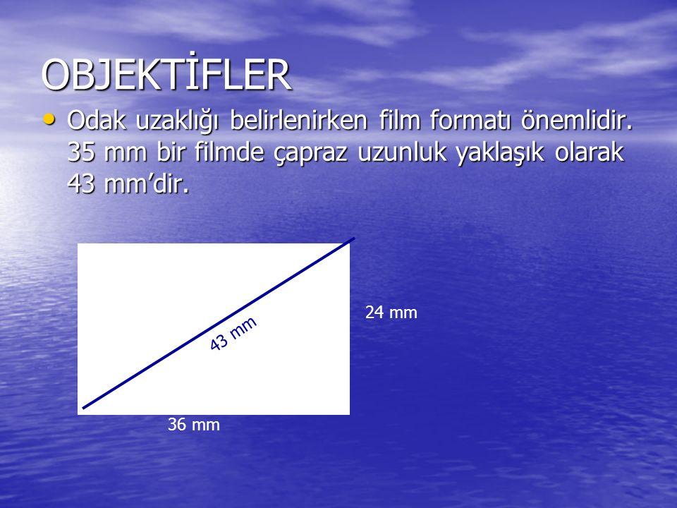 OBJEKTİFLER Odak uzaklığı belirlenirken film formatı önemlidir. 35 mm bir filmde çapraz uzunluk yaklaşık olarak 43 mm'dir. Odak uzaklığı belirlenirken