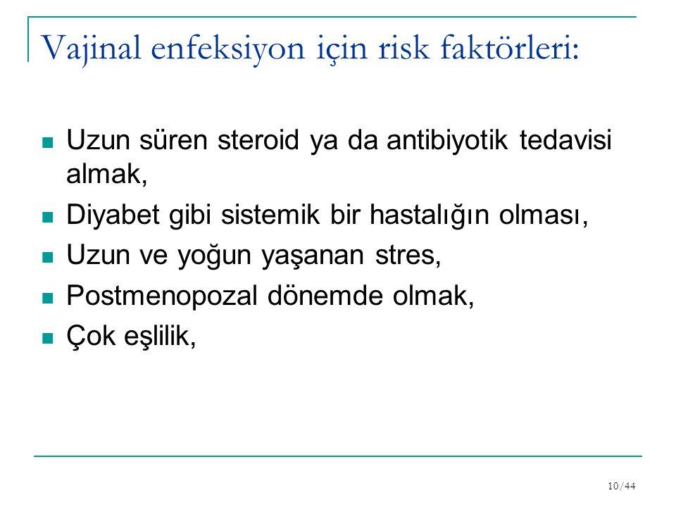 Vajinal enfeksiyon için risk faktörleri: Uzun süren steroid ya da antibiyotik tedavisi almak, Diyabet gibi sistemik bir hastalığın olması, Uzun ve yoğun yaşanan stres, Postmenopozal dönemde olmak, Çok eşlilik, 10/44
