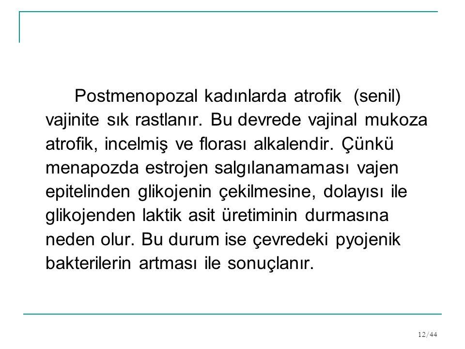 Postmenopozal kadınlarda atrofik (senil) vajinite sık rastlanır.