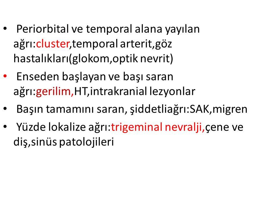 Periorbital ve temporal alana yayılan ağrı:cluster,temporal arterit,göz hastalıkları(glokom,optik nevrit) Enseden başlayan ve başı saran ağrı:gerilim,