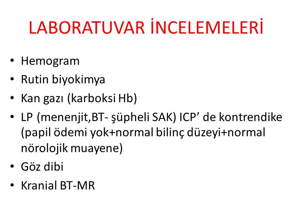 LABORATUVAR İNCELEMELERİ Hemogram Rutin biyokimya Kan gazı (karboksi Hb) LP (menenjit,BT- şüpheli SAK) ICP' de kontrendike (papil ödemi yok+normal bilinç düzeyi+normal nörolojik muayene) Göz dibi Kranial BT-MR