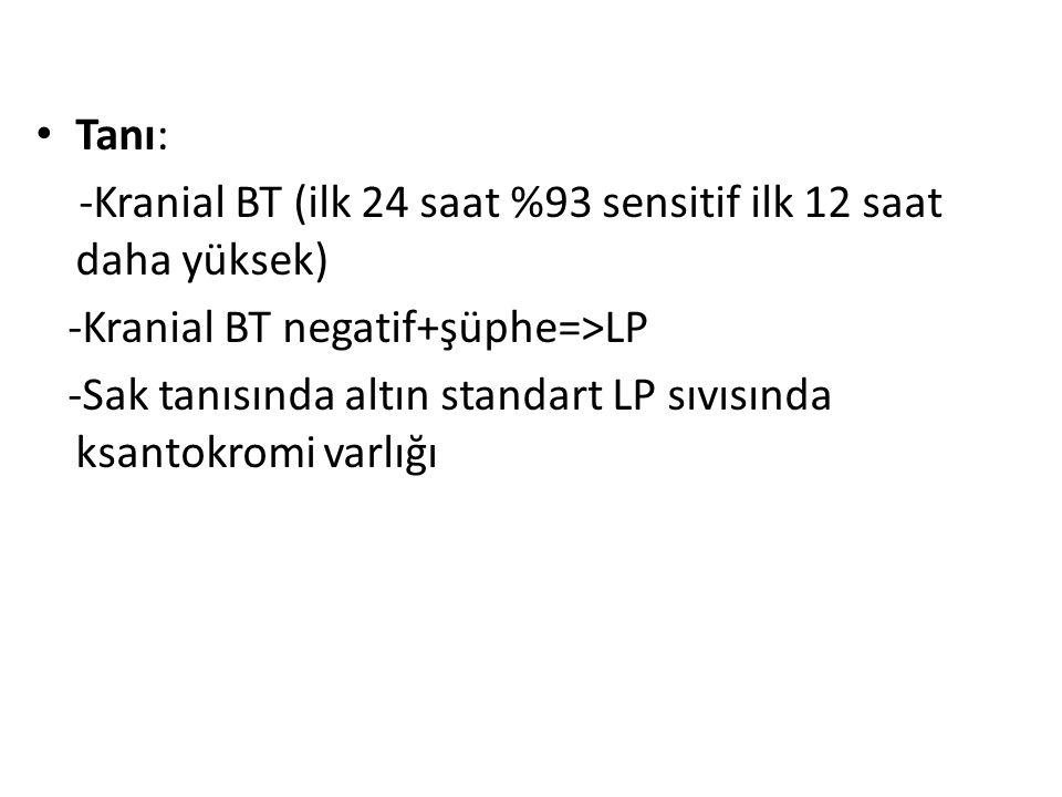 Tanı: -Kranial BT (ilk 24 saat %93 sensitif ilk 12 saat daha yüksek) -Kranial BT negatif+şüphe=>LP -Sak tanısında altın standart LP sıvısında ksantokr