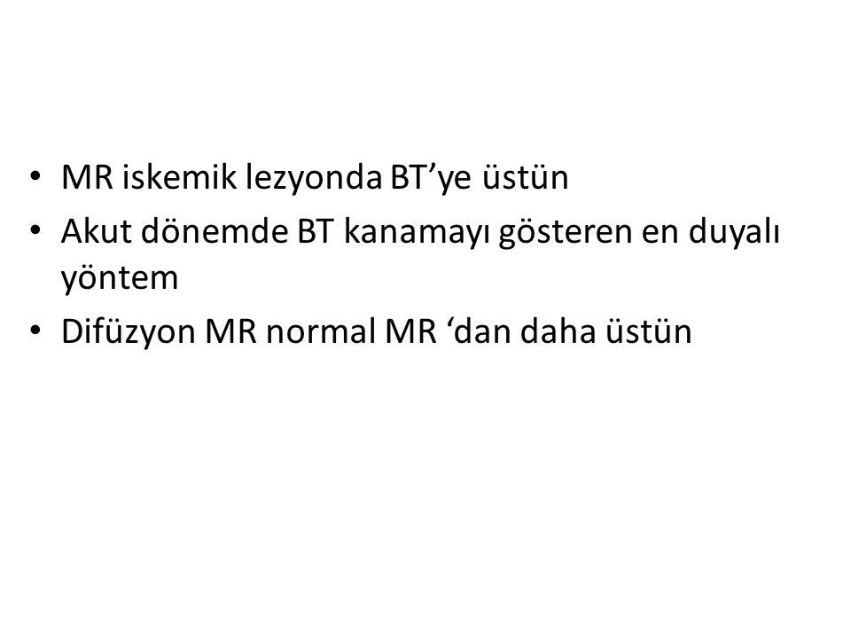 MR iskemik lezyonda BT'ye üstün Akut dönemde BT kanamayı gösteren en duyalı yöntem Difüzyon MR normal MR 'dan daha üstün