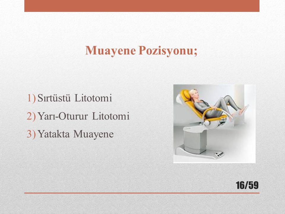 Muayene Pozisyonu; 1)Sırtüstü Litotomi 2)Yarı-Oturur Litotomi 3)Yatakta Muayene 16/59