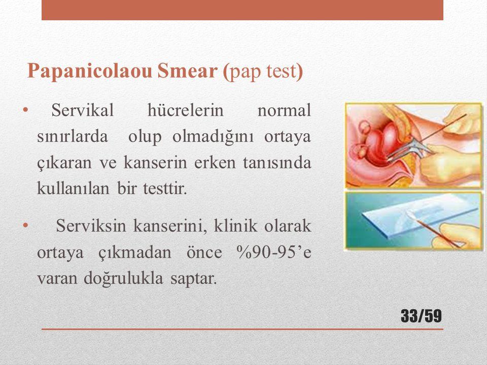 Papanicolaou Smear (pap test) Servikal hücrelerin normal sınırlarda olup olmadığını ortaya çıkaran ve kanserin erken tanısında kullanılan bir testtir.