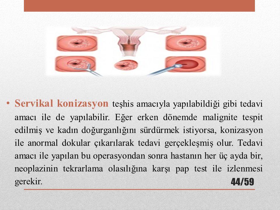 Servikal konizasyon teşhis amacıyla yapılabildiği gibi tedavi amacı ile de yapılabilir.