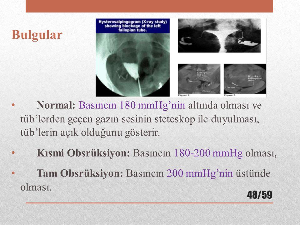 Bulgular Normal: Basıncın 180 mmHg'nin altında olması ve tüb'lerden geçen gazın sesinin steteskop ile duyulması, tüb'lerin açık olduğunu gösterir.