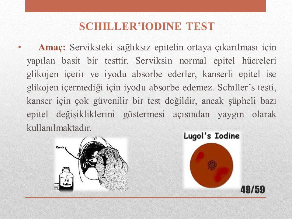 SCHILLER'IODINE TEST Amaç: Serviksteki sağlıksız epitelin ortaya çıkarılması için yapılan basit bir testtir. Serviksin normal epitel hücreleri glikoje