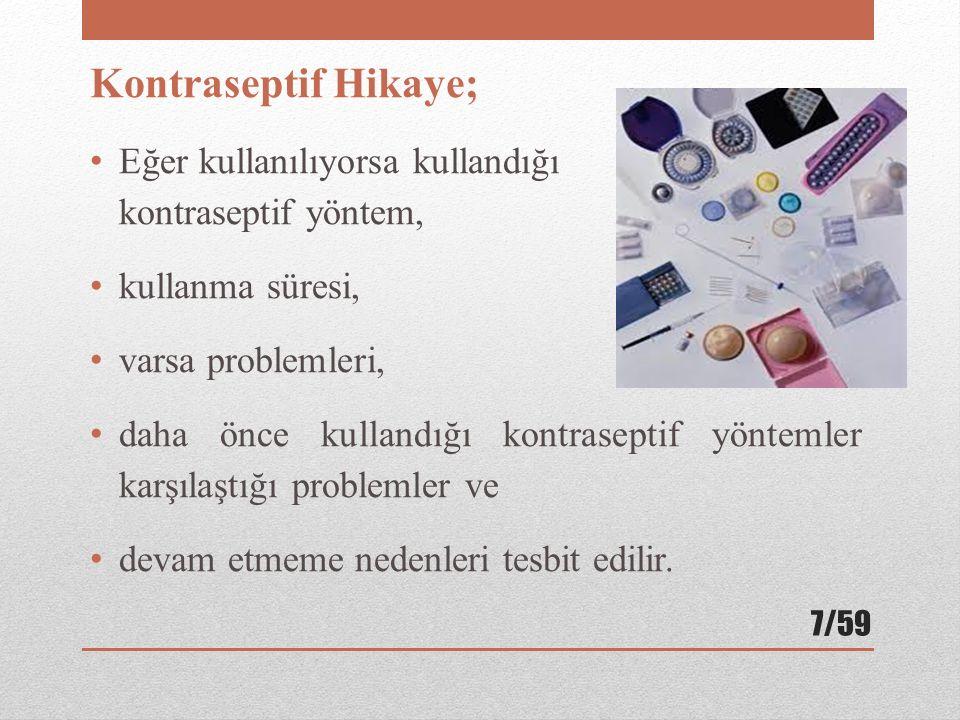Kontraseptif Hikaye; Eğer kullanılıyorsa kullandığı kontraseptif yöntem, kullanma süresi, varsa problemleri, daha önce kullandığı kontraseptif yönteml
