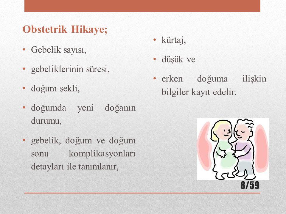 Obstetrik Hikaye; Gebelik sayısı, gebeliklerinin süresi, doğum şekli, doğumda yeni doğanın durumu, gebelik, doğum ve doğum sonu komplikasyonları detayları ile tanımlanır, kürtaj, düşük ve erken doğuma ilişkin bilgiler kayıt edelir.