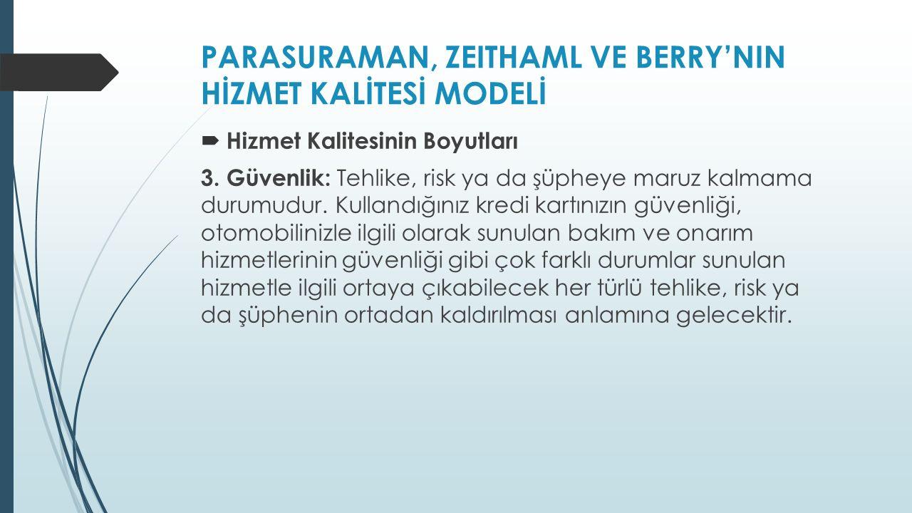 PARASURAMAN, ZEITHAML VE BERRY'NIN HİZMET KALİTESİ MODELİ  Hizmet Kalitesinin Boyutları 3.