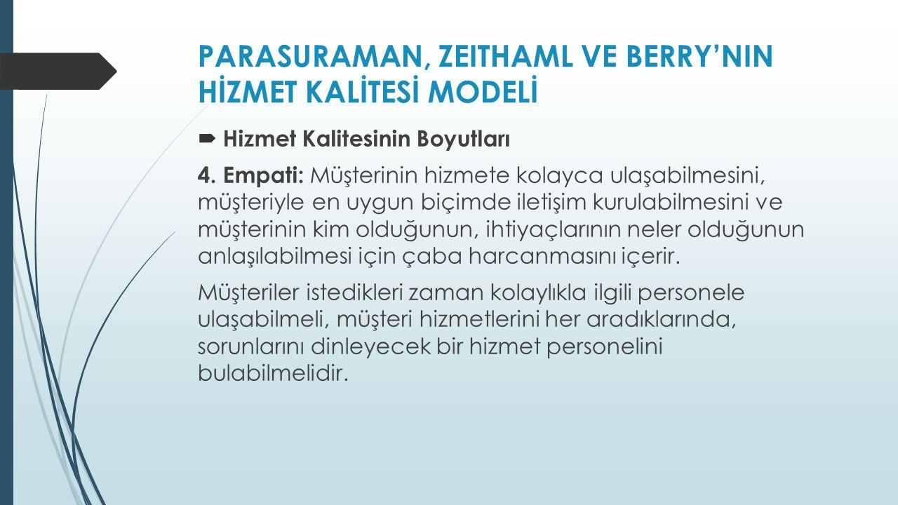 PARASURAMAN, ZEITHAML VE BERRY'NIN HİZMET KALİTESİ MODELİ  Hizmet Kalitesinin Boyutları 4.