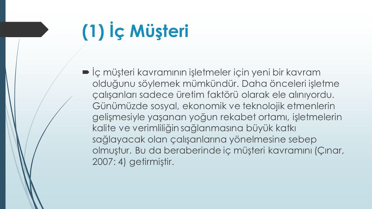 (1) İç Müşteri  İç müşteri kavramının işletmeler için yeni bir kavram olduğunu söylemek mümkündür.