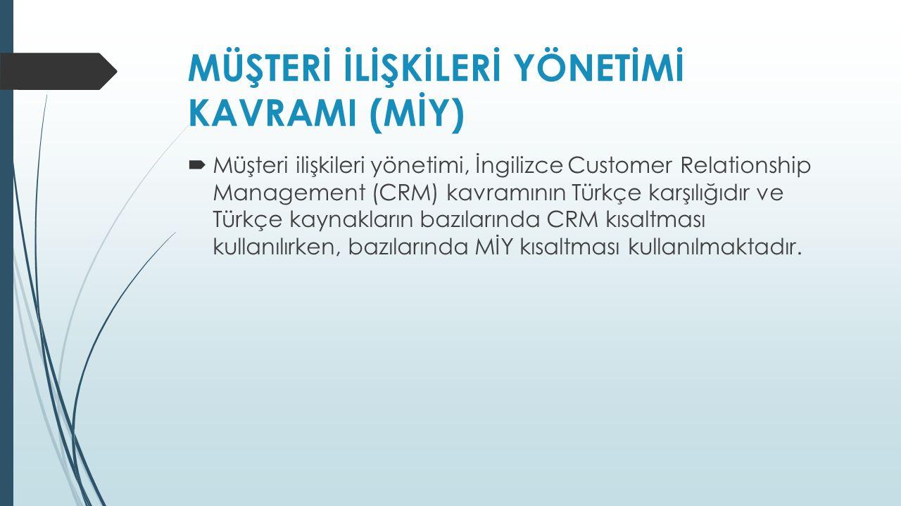  Müşteri ilişkileri yönetimi, İngilizce Customer Relationship Management (CRM) kavramının Türkçe karşılığıdır ve Türkçe kaynakların bazılarında CRM kısaltması kullanılırken, bazılarında MİY kısaltması kullanılmaktadır.