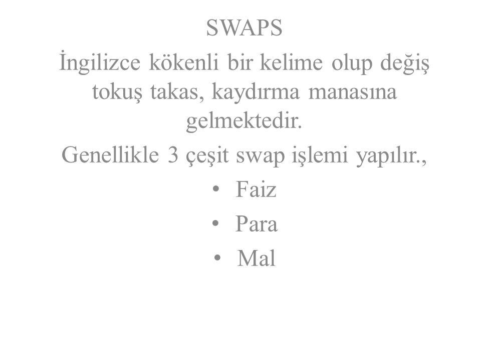SWAPS İngilizce kökenli bir kelime olup değiş tokuş takas, kaydırma manasına gelmektedir.