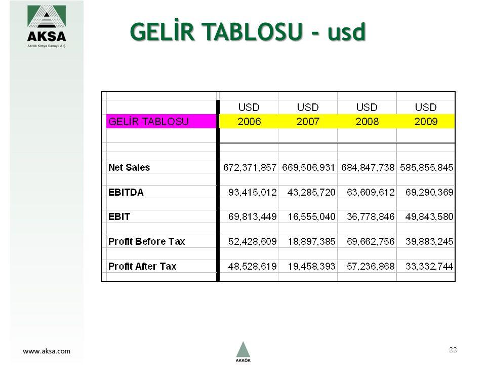 GELİR TABLOSU - usd 22