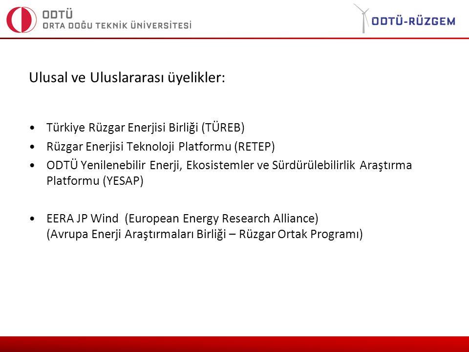 Ulusal ve Uluslararası üyelikler: Türkiye Rüzgar Enerjisi Birliği (TÜREB) Rüzgar Enerjisi Teknoloji Platformu (RETEP) ODTÜ Yenilenebilir Enerji, Ekosistemler ve Sürdürülebilirlik Araştırma Platformu (YESAP) EERA JP Wind (European Energy Research Alliance) (Avrupa Enerji Araştırmaları Birliği – Rüzgar Ortak Programı)