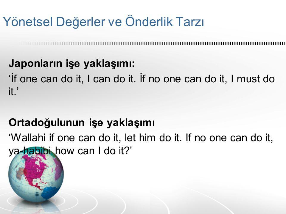 Yönetsel Değerler ve Önderlik Tarzı Japonların işe yaklaşımı: 'İf one can do it, I can do it.