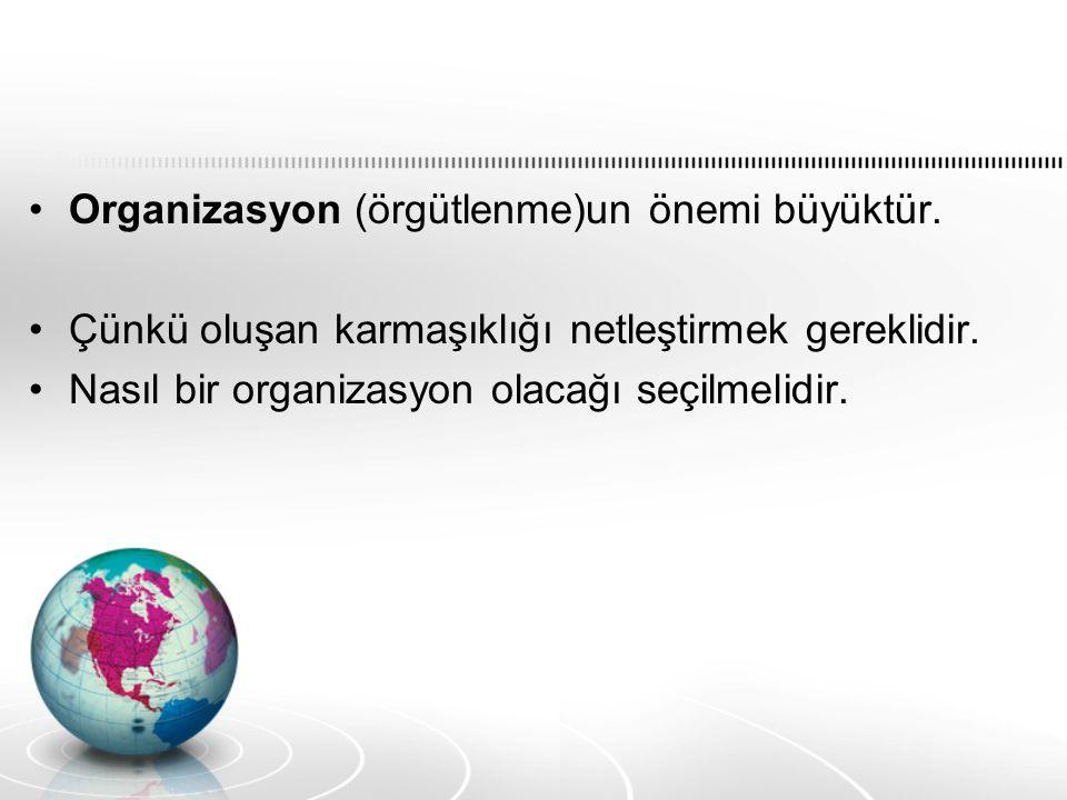 Organizasyon (örgütlenme)un önemi büyüktür. Çünkü oluşan karmaşıklığı netleştirmek gereklidir.