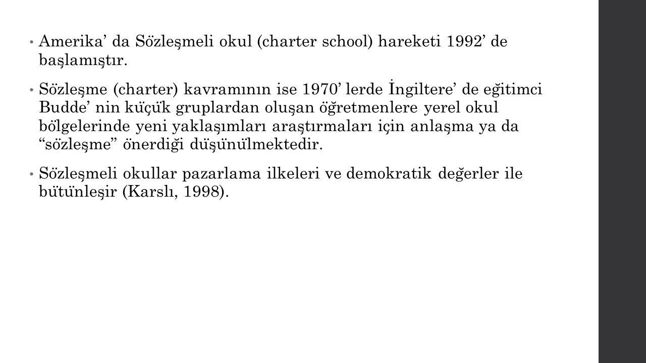 Amerika' da So ̈ zles ̧ meli okul (charter school) hareketi 1992' de bas ̧ lamıs ̧ tır. So ̈ zles ̧ me (charter) kavramının ise 1970' lerde İngiltere'