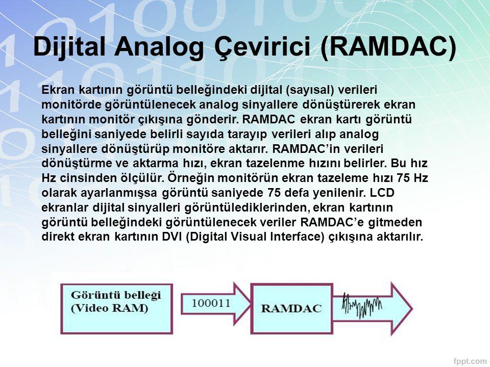 Dijital Analog Çevirici (RAMDAC) Ekran kartının görüntü belleğindeki dijital (sayısal) verileri monitörde görüntülenecek analog sinyallere dönüştürere