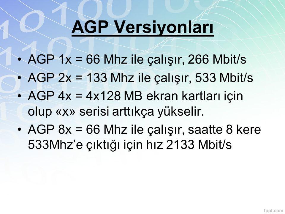 AGP Versiyonları AGP 1x = 66 Mhz ile çalışır, 266 Mbit/s AGP 2x = 133 Mhz ile çalışır, 533 Mbit/s AGP 4x = 4x128 MB ekran kartları için olup «x» seris