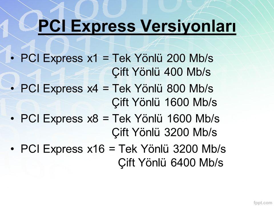 PCI Express Versiyonları PCI Express x1 = Tek Yönlü 200 Mb/s Çift Yönlü 400 Mb/s PCI Express x4 = Tek Yönlü 800 Mb/s Çift Yönlü 1600 Mb/s PCI Express