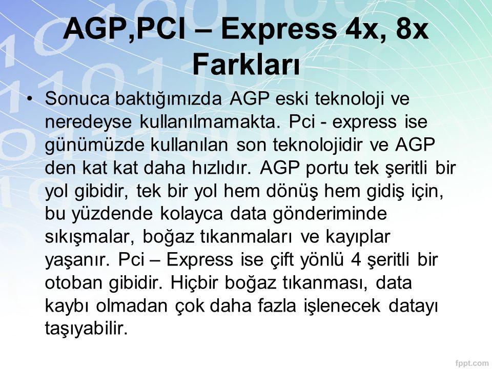 Sonuca baktığımızda AGP eski teknoloji ve neredeyse kullanılmamakta. Pci - express ise günümüzde kullanılan son teknolojidir ve AGP den kat kat daha h