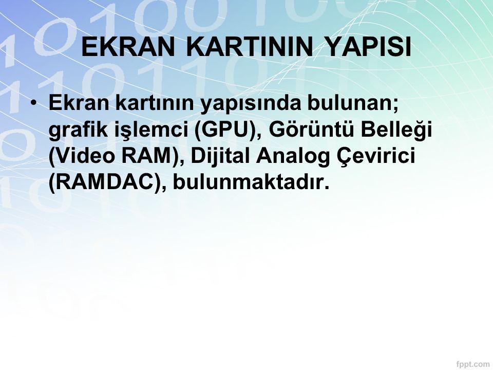 EKRAN KARTININ YAPISI Ekran kartının yapısında bulunan; grafik işlemci (GPU), Görüntü Belleği (Video RAM), Dijital Analog Çevirici (RAMDAC), bulunmakt