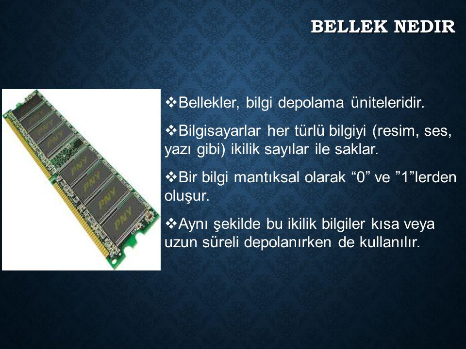 BELLEK, HAFıZA, RAM  Günlük kullanımda, RAM, hafıza ve bellek kelimeleri ço ğ unlukla aynı kavramı ifade etmekte kullanılır.