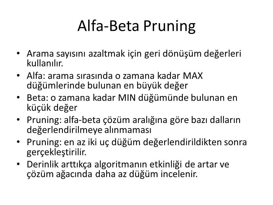 Alfa-Beta Pruning Arama sayısını azaltmak için geri dönüşüm değerleri kullanılır. Alfa: arama sırasında o zamana kadar MAX düğümlerinde bulunan en büy
