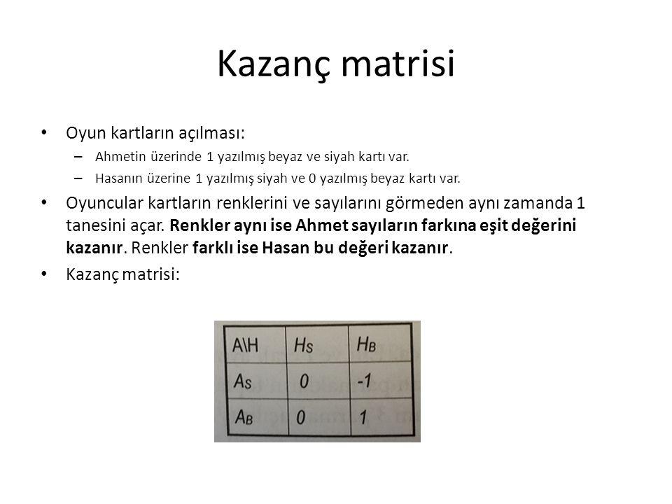 Kazanç matrisi Oyun kartların açılması: – Ahmetin üzerinde 1 yazılmış beyaz ve siyah kartı var. – Hasanın üzerine 1 yazılmış siyah ve 0 yazılmış beyaz