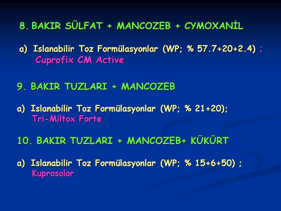 9. BAKIR TUZLARI + MANCOZEB a)Islanabilir Toz Formülasyonlar (WP; % 21+20); Tri-Miltox Forte Tri-Miltox Forte 10. BAKIR TUZLARI + MANCOZEB+ KÜKÜRT a)I