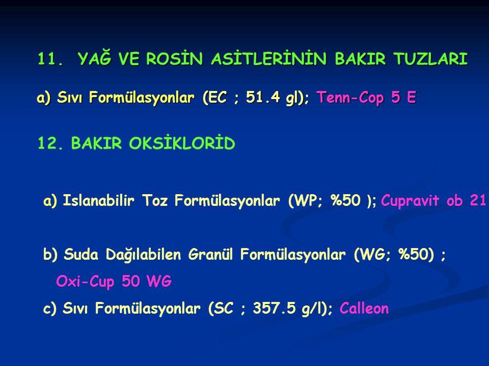 11. YAĞ VE ROSİN ASİTLERİNİN BAKIR TUZLARI a) Sıvı Formülasyonlar (EC ; 51.4 gl); Tenn-Cop 5 E 12. BAKIR OKSİKLORİD a) Islanabilir Toz Formülasyonlar