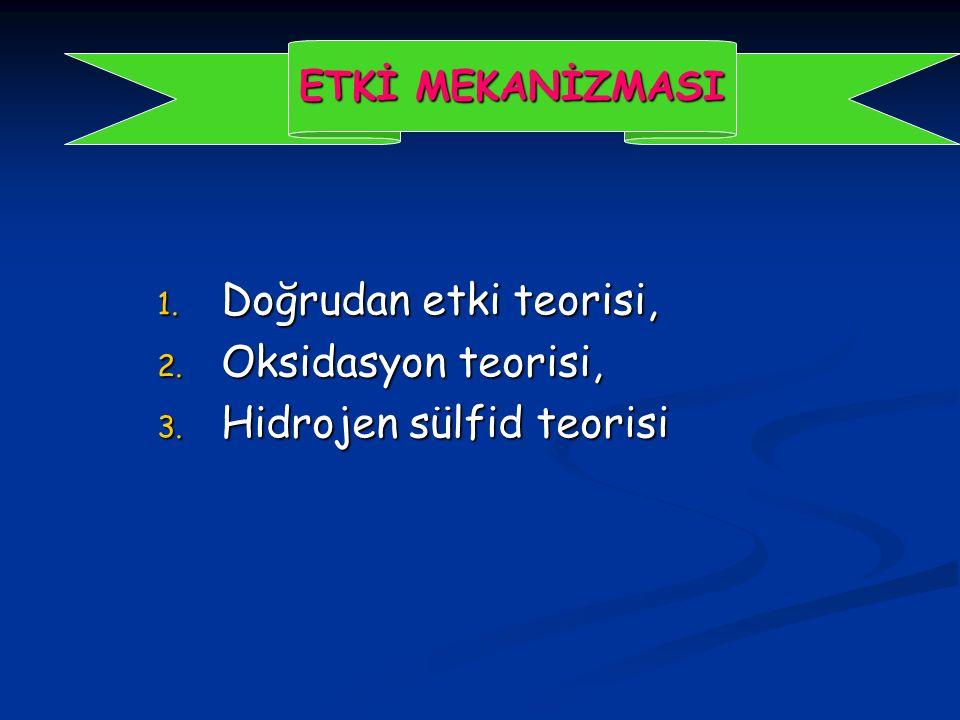 1. Doğrudan etki teorisi, 2. Oksidasyon teorisi, 3. Hidrojen sülfid teorisi ETKİ MEKANİZMASI