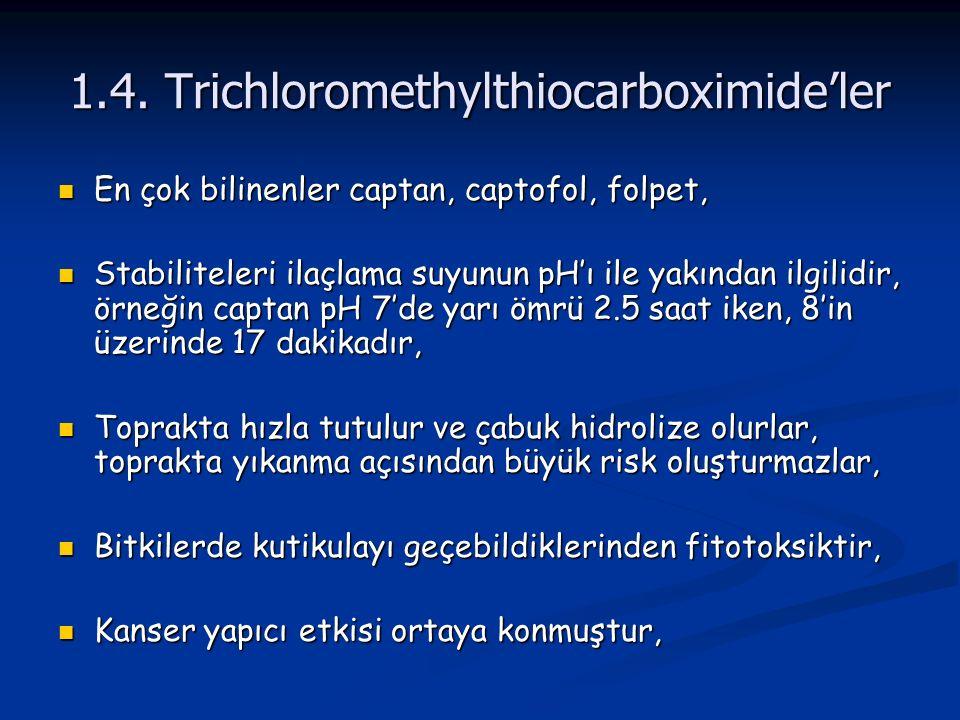 1.4. Trichloromethylthiocarboximide'ler En çok bilinenler captan, captofol, folpet, En çok bilinenler captan, captofol, folpet, Stabiliteleri ilaçlama