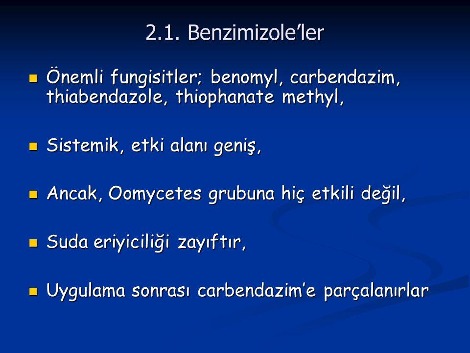 2.1. Benzimizole'ler Önemli fungisitler; benomyl, carbendazim, thiabendazole, thiophanate methyl, Önemli fungisitler; benomyl, carbendazim, thiabendaz