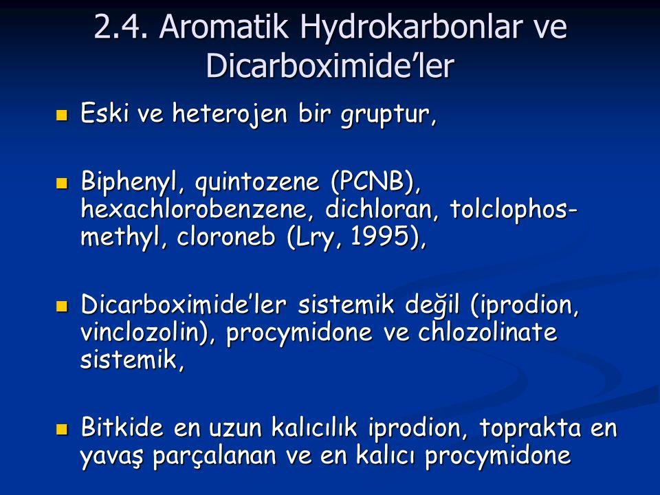 2.4. Aromatik Hydrokarbonlar ve Dicarboximide'ler Eski ve heterojen bir gruptur, Eski ve heterojen bir gruptur, Biphenyl, quintozene (PCNB), hexachlor
