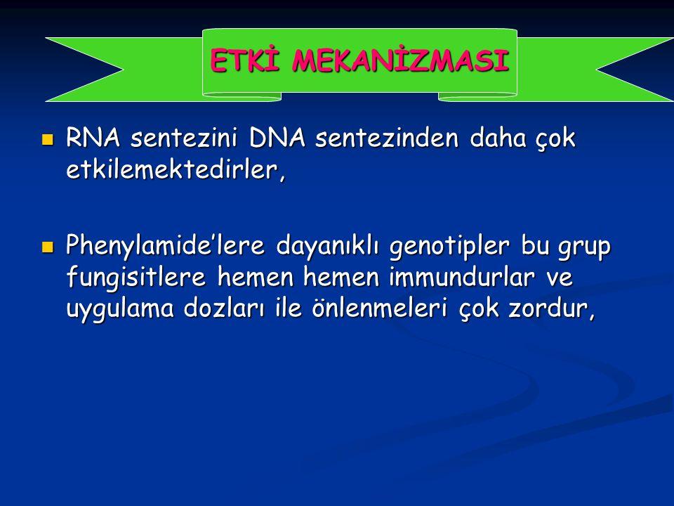RNA sentezini DNA sentezinden daha çok etkilemektedirler, RNA sentezini DNA sentezinden daha çok etkilemektedirler, Phenylamide'lere dayanıklı genotipler bu grup fungisitlere hemen hemen immundurlar ve uygulama dozları ile önlenmeleri çok zordur, Phenylamide'lere dayanıklı genotipler bu grup fungisitlere hemen hemen immundurlar ve uygulama dozları ile önlenmeleri çok zordur, ETKİ MEKANİZMASI