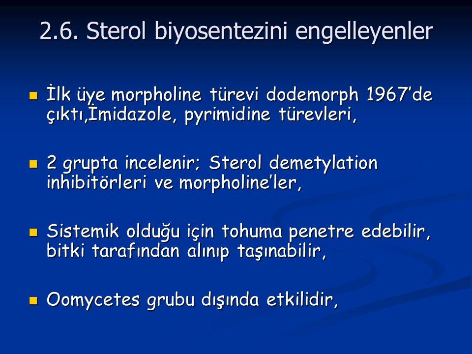 2.6. Sterol biyosentezini engelleyenler İlk üye morpholine türevi dodemorph 1967'de çıktı,İmidazole, pyrimidine türevleri, İlk üye morpholine türevi d