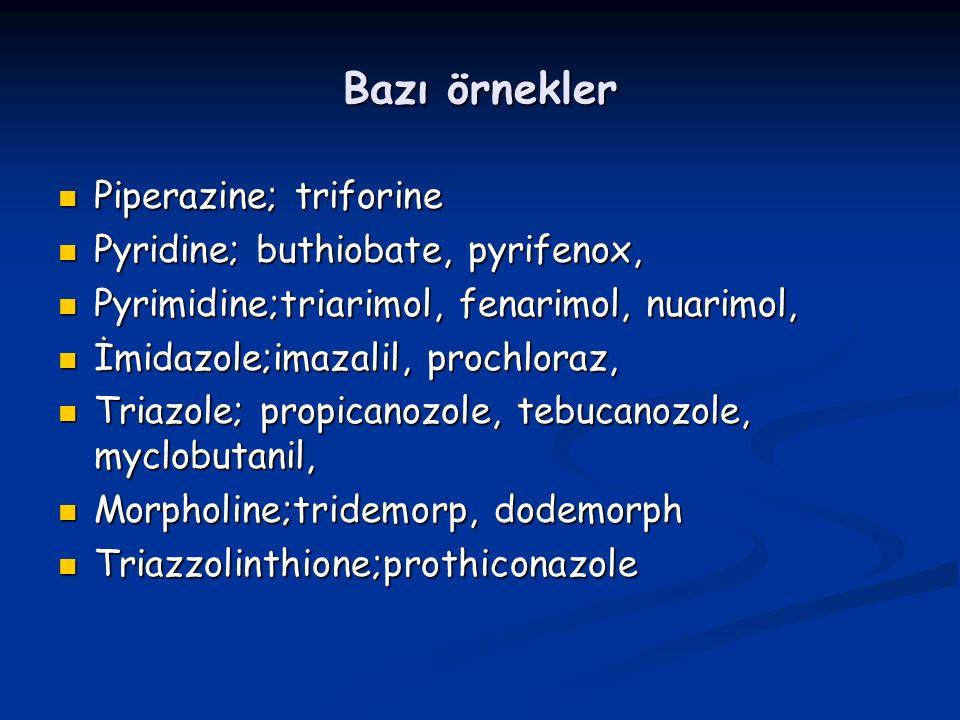Bazı örnekler Piperazine; triforine Piperazine; triforine Pyridine; buthiobate, pyrifenox, Pyridine; buthiobate, pyrifenox, Pyrimidine;triarimol, fenarimol, nuarimol, Pyrimidine;triarimol, fenarimol, nuarimol, İmidazole;imazalil, prochloraz, İmidazole;imazalil, prochloraz, Triazole; propicanozole, tebucanozole, myclobutanil, Triazole; propicanozole, tebucanozole, myclobutanil, Morpholine;tridemorp, dodemorph Morpholine;tridemorp, dodemorph Triazzolinthione;prothiconazole Triazzolinthione;prothiconazole