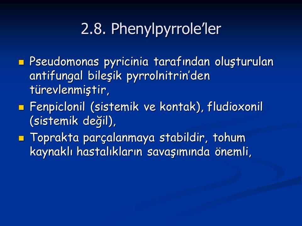 2.8. Phenylpyrrole'ler Pseudomonas pyricinia tarafından oluşturulan antifungal bileşik pyrrolnitrin'den türevlenmiştir, Pseudomonas pyricinia tarafınd