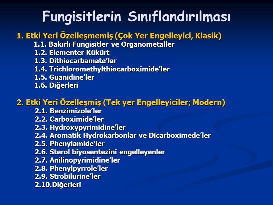 Fungisitlerin Sınıflandırılması 1. Etki Yeri Özelleşmemiş (Çok Yer Engelleyici, Klasik) 1.1. Bakırlı Fungisitler ve Organometaller 1.1. Bakırlı Fungis