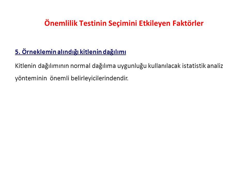 Önemlilik Testinin Seçimini Etkileyen Faktörler 5.