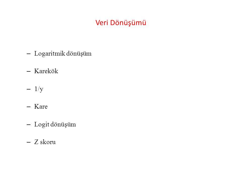 Veri Dönüşümü – Logaritmik dönüşüm – Karekök – 1/y – Kare – Logit dönüşüm – Z skoru