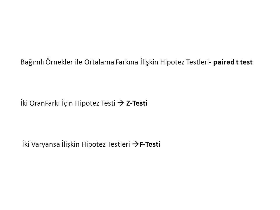 Bağımlı Örnekler ile Ortalama Farkına İlişkin Hipotez Testleri- paired t test İki OranFarkı İçin Hipotez Testi  Z-Testi İki Varyansa İlişkin Hipotez Testleri  F-Testi