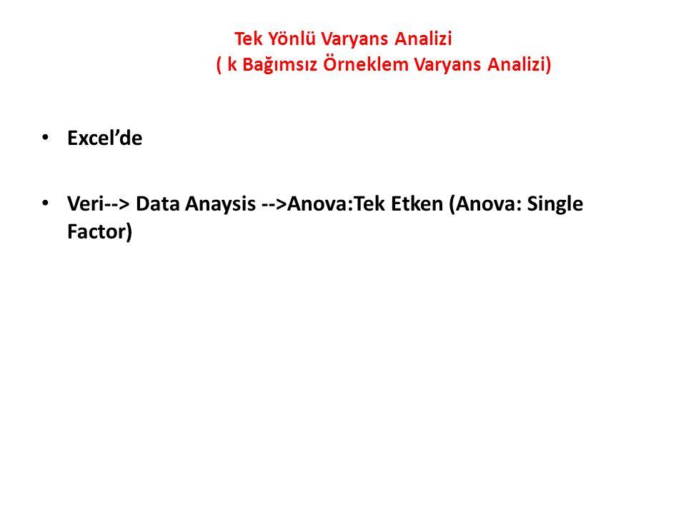 Tek Yönlü Varyans Analizi ( k Bağımsız Örneklem Varyans Analizi) Excel'de Veri--> Data Anaysis -->Anova:Tek Etken (Anova: Single Factor)