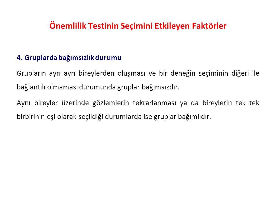Önemlilik Testinin Seçimini Etkileyen Faktörler 4.