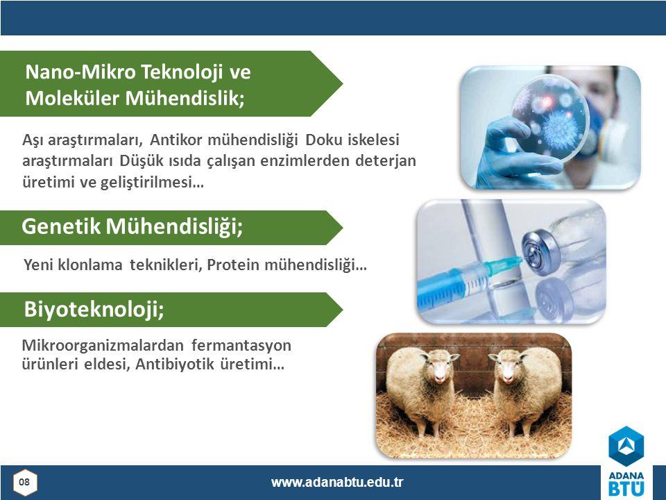 Mikroorganizmalardan fermantasyon ürünleri eldesi, Antibiyotik üretimi… Nano-Mikro Teknoloji ve Moleküler Mühendislik; Aşı araştırmaları, Antikor mühendisliği Doku iskelesi araştırmaları Düşük ısıda çalışan enzimlerden deterjan üretimi ve geliştirilmesi… Genetik Mühendisliği; Yeni klonlama teknikleri, Protein mühendisliği… Biyoteknoloji; www.adanabtu.edu.tr 08