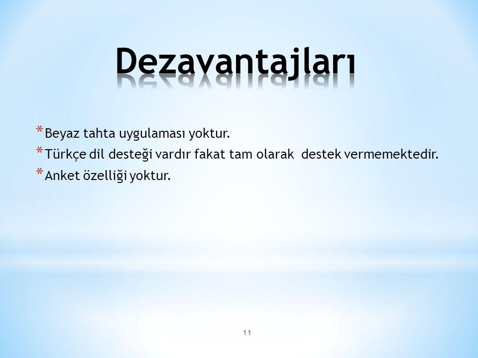 11 * Beyaz tahta uygulaması yoktur. * Türkçe dil desteği vardır fakat tam olarak destek vermemektedir. * Anket özelliği yoktur.